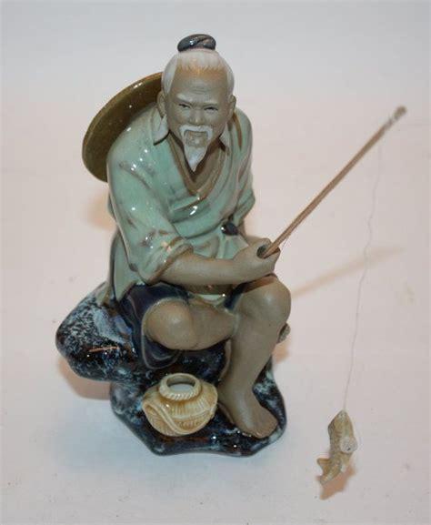 vintage chinese shiwan art pottery mud man fisherman