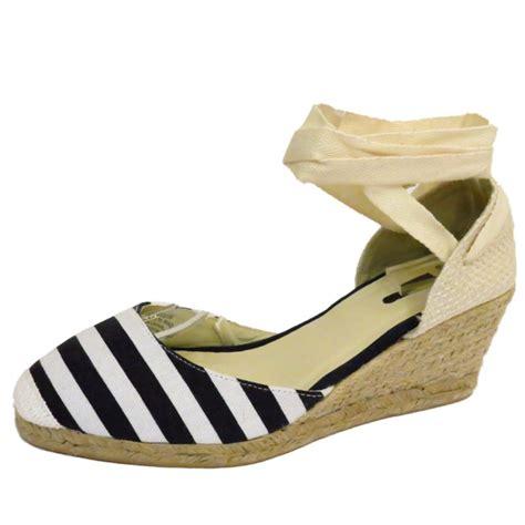 navy nautical stripe hessian summer canvas wedge