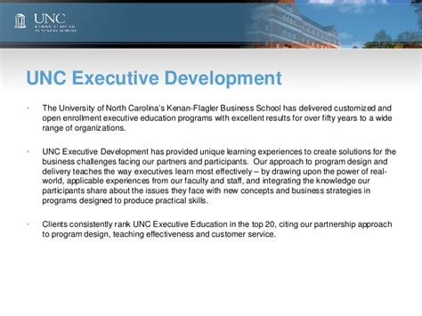 Unc Executive Mba by Unc Leadership Survey 2012 In Business