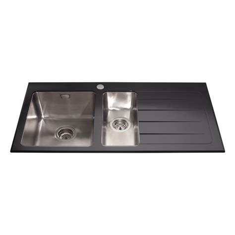 glass kitchen sinks kvl02bl glass one and a half bowl sink right hand