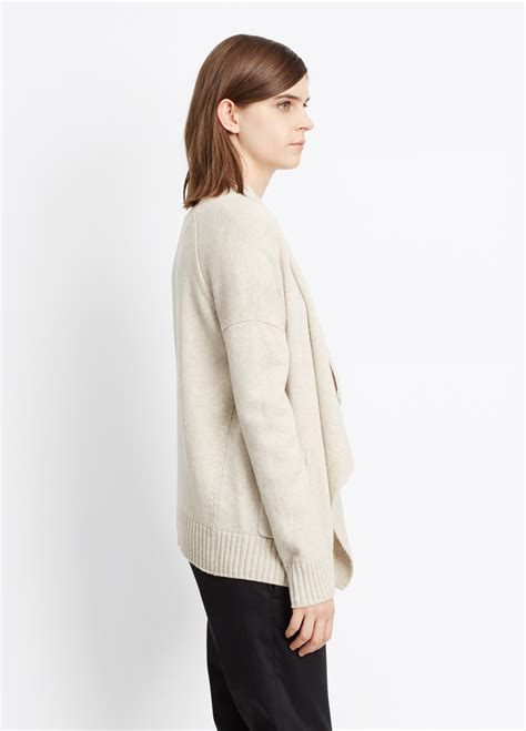 drape front cardigan vince drape front cardigan in natural lyst