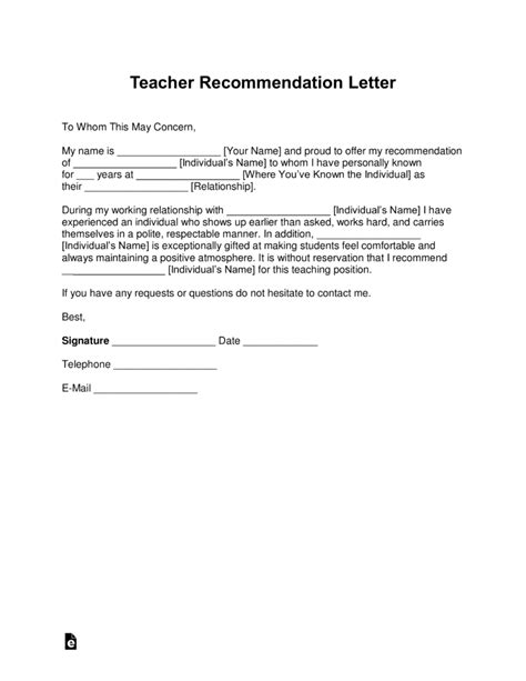 recommendation letter for student from teacher template free recommendation letter template with sles