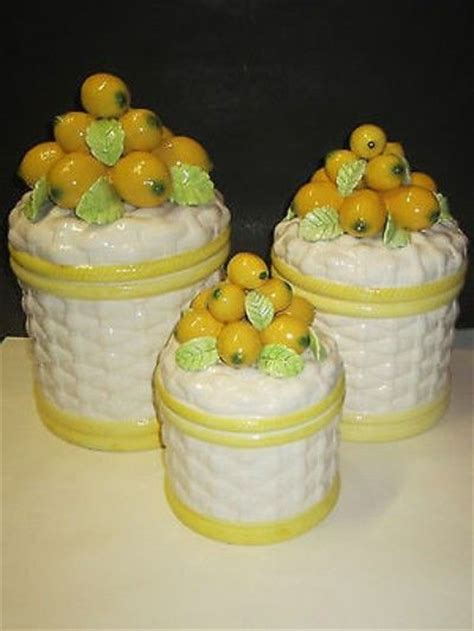 Pottery Kitchen Canisters Vintage Robert Nemith Art Pottery Majolica Canister Set