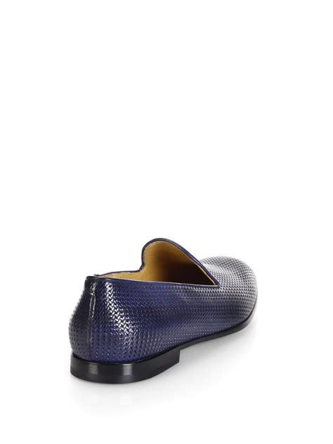 armani loafers for lyst giorgio armani printed leather loafers in blue for
