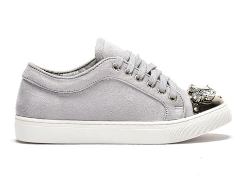 New Sneaker Lu grey sneakers with glitter jewels grey shoe locker sport style news lu boo trainers lu boo
