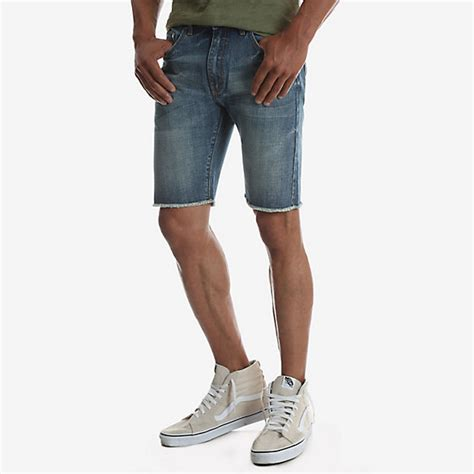 Frayed Slim Fit s frayed hem slim fit denim mens shorts by