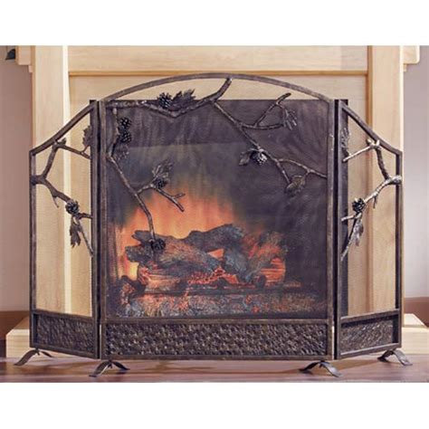 pinecone fireplace screen spi home screens fireplace