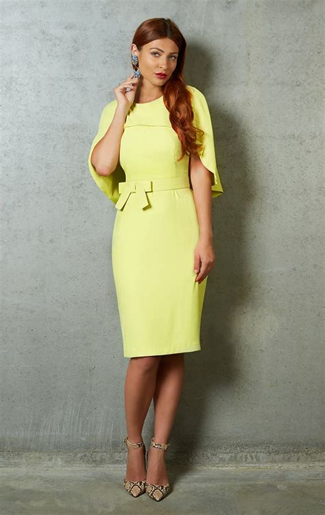 jennifer dress yellow fitted cocktail dress  cape
