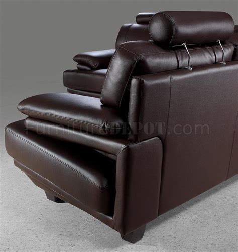 modern brown leather couch brown leather modern sectional sofa w headrests