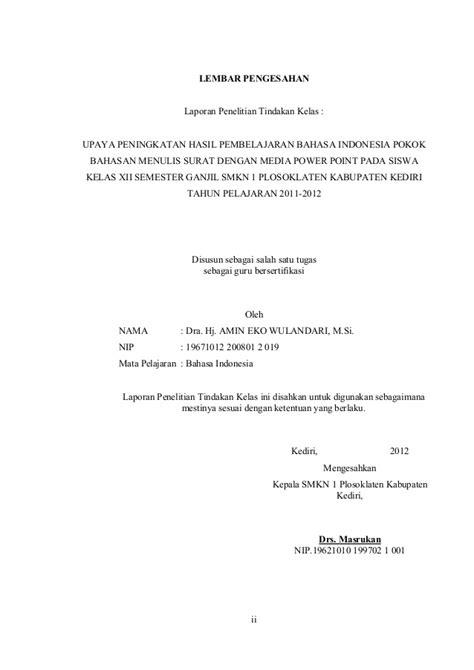 format proposal bahasa indonesia laporan penelitian tindakan kelas ptk bahasa indonesia smk