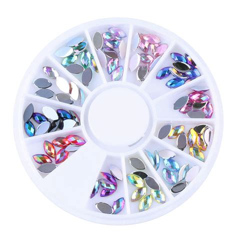 Ab Color Rhinestones In Wheel Nail 1 wheel 3d nail acrylic 12 colors ab rhinestone style tipes decoration manicure jewelry