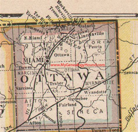 Ottawa County Records Ottawa County Oklahoma 1922 Map