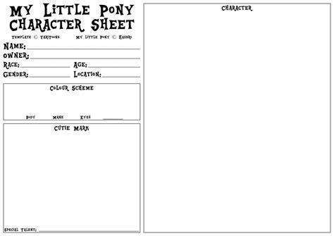 pony oc template my pony character sheet template v1 1 by taritoons