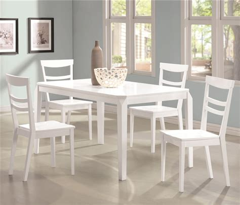white dining table set henson 5 dining table set in white finish by coaster
