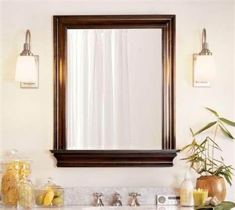 pottery barn bathroom mirrors metropolitan mirror with shelf pottery barn