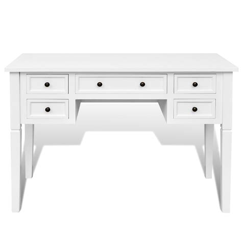 white desk with drawers vidaxl co uk white writing desk with 5 drawers