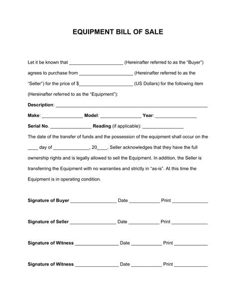 bill of sale sle template free equipment bill of sale form word pdf eforms