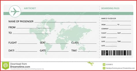blank airline ticket free download chlain college