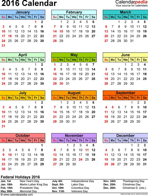 printable monthly calendar 2016 with indian holidays 2016 calendar with federal holidays excel pdf word templates