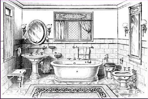 badezimmer zeichnung vintage plumbing bathroom antiques designs