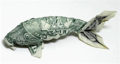Origami Dollar Koi - smart design 187 the history of orikane money origami