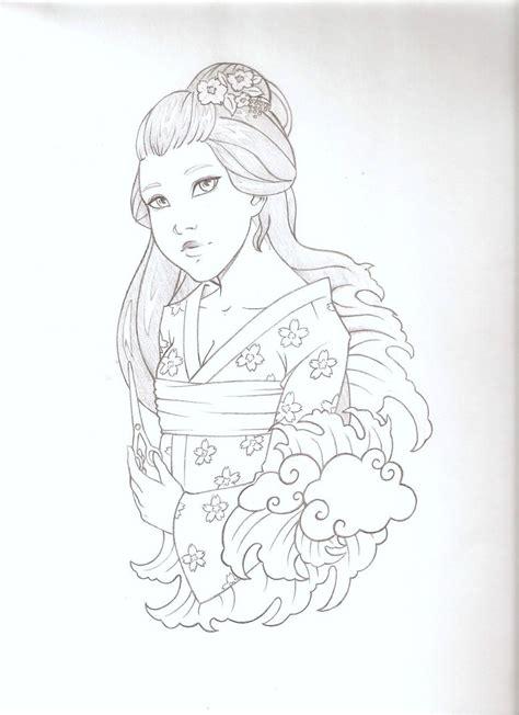 tattoo geisha sketch geisha tattoo sketch by emc on deviantart