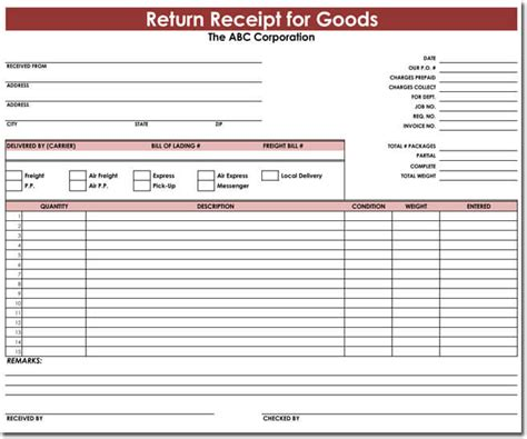 return receipt template goods return receipt templates for excel