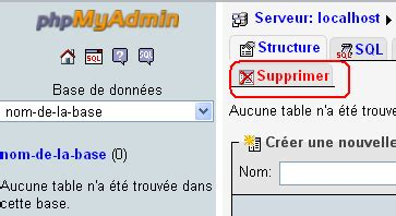 sql supprimer table phpmyadmin utilisateur base de donn 233 es et table php