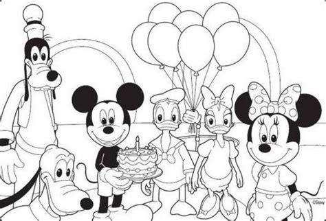 mickey mouse birthday party coloring pages mickey mouse disney happy birthday coloring pages