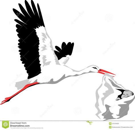 flying color baby stork stock photos image 31516453