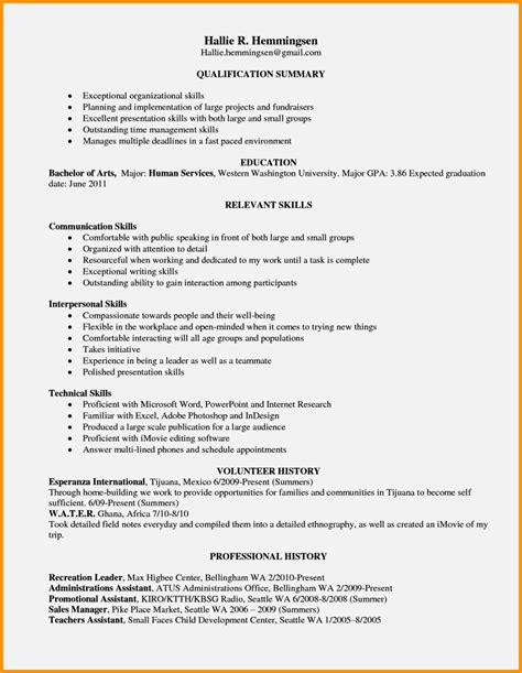 Skills List For Resume by Exle Of Resume Skills Resume Template Cover Letter