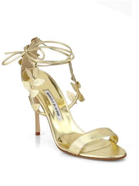 manolo blahnik sandals manolo blahnik bolabasan metallic leather leaf sandals in