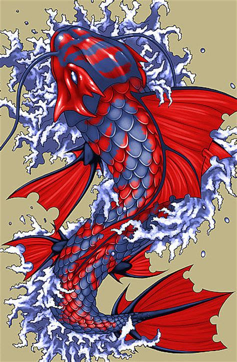 koi tattoo artists uk 3 25 quot red and blue fantasy japanese koi fish art print
