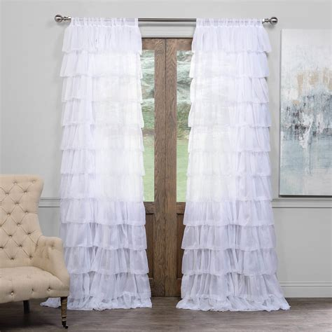 layered sheer curtains amelia layered ruffle sheer curtain cognacsilktaffetacurtain