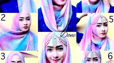 tutorial hijab pashmina kaos terbaik