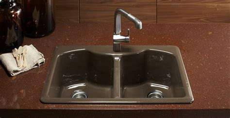 Kitchen Sink Colors A Distinctive Color Option For Kohler Enameled Cast Iron Sinks Suede Is A Rich Neutral Designed