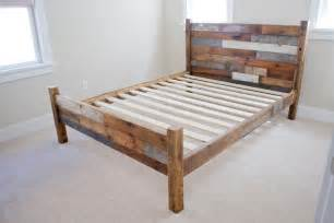 Wooden Pallet Bed Frame Reserved For Alan Reclaimed Pallet And Barn Wood Bed