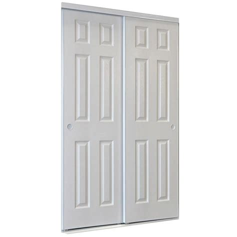 Interior Sliding Doors Lowes Shop Reliabilt White 6 Panel Sliding Door Common 48 In X 80 5 In Actual 48 In X 80 In At