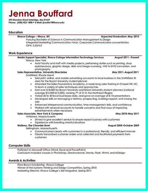 Resume Sle For Current College Student Current College Student Resume Is Designed For Fresh Graduate Student Who Want To Get A Soon