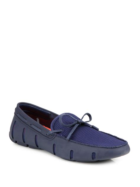 swims rubber loafers swims rubber tie loafers in blue for lyst