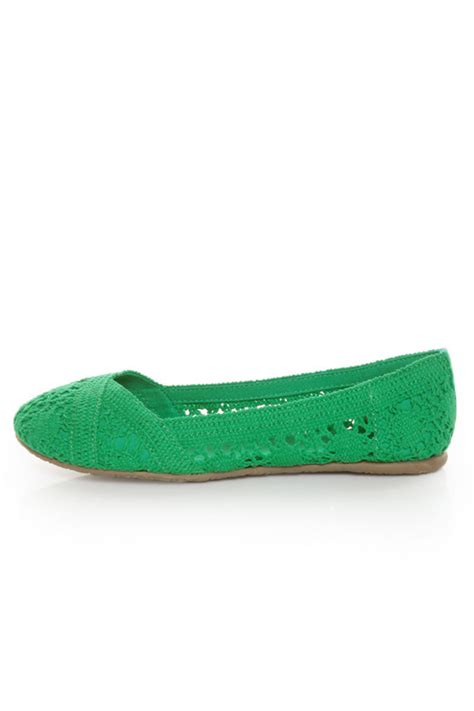 soda shoes flats soda faddy green crocheted ballet flats 22 00