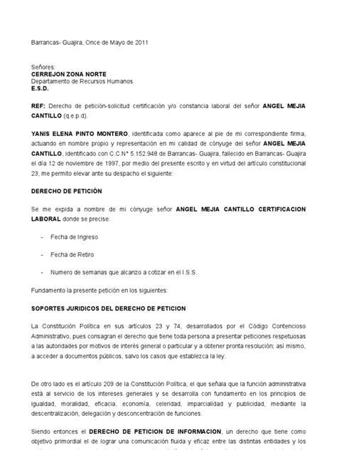 como solicitar una certificacion en bancolombia derecho de peticion para pedir certificacion laboral