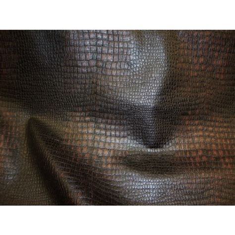 embossed vinyl upholstery fabric dark black and brown color embossed crocodile upholstery