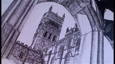 Gothic Interior Design durham cathedral speed drawing using the cross hatching