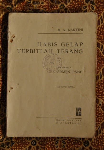 Buku Habis Gelap Terbitlah Terang R A Kartini Armijn Pane tsarin dan buku langka quot habis gelap terbitlah terang quot