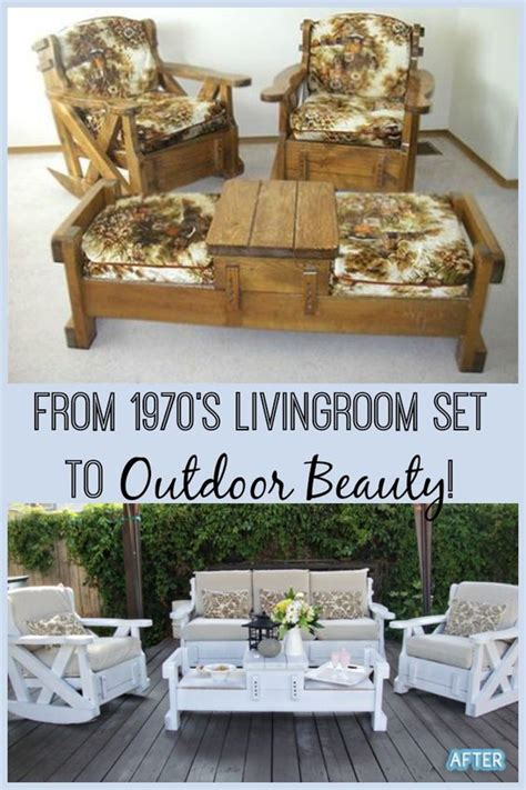 outdoor living furniture store 1970 s living room furniture re purposed into a beautiful