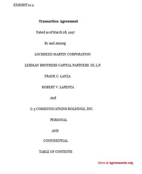 Transaction Agreement Sle Transaction Agreement Transaction Agreement Template