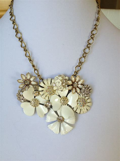 White Vintage Flower Necklace white flower statement necklace bib necklace repurposed