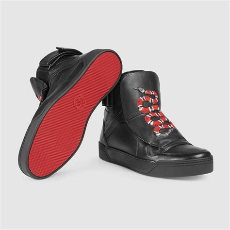 lyst gucci leather high top sneaker  snake  black