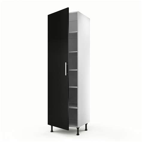 Meuble de cuisine colonne noir 1 porte Délice H.200 x l.60